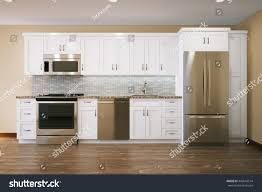 Kitchen Interior Photo White Furniture Kitchen Interior Design Parquet Stock Illustration