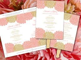 print your own wedding programs wedding fan template bouquet bloom ceremony program coral