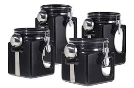 Stainless Steel Kitchen Canister Amazon Com Oggi Ez Grip Handle Ceramic 4 Piece Canister Set