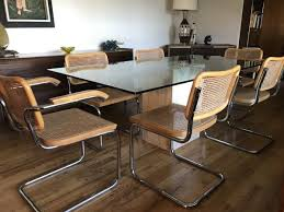 marcel breuer dining table set of 6 vintage marcel breuer style chrome and cane dining chairs