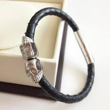 skull bracelet leather images Genuine blue python leather skull bracelet twin skull bracelets jpg