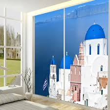 popular wallpaper window mural buy cheap wallpaper window mural yazi customized size made mediterranean sea house pvc wallpaper mural window door glass film sliding door