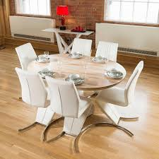 modern dining set round oval extending table plus 6 white z chairs