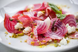 pickle candy candy beet salad with pistachios goat cheese familystyle food