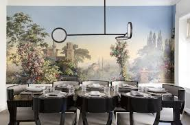 memo a worldly wall mural in the dining room of a new york apartment zuber et cie s el dorado wall covering was removed from the dining room of viyet ceo