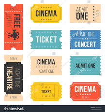admit one home theater ticket set cinema concert vintage style stock vector 382629364