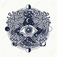 all seeing eye tattoo occult art masonic symbol and vintage