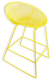 bliss modern yellow bar stool coated metal wire eclectic