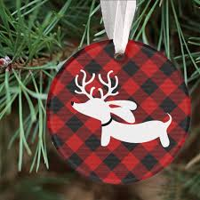 plaid reindeer dachshund tree ornament the smoothe store