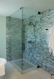 glass shower with graceful blue and green plaid blue bathroom