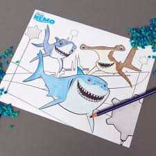 finding nemo shark coloring finding nemo shark craft