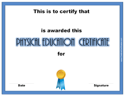 physical education awards and certificates free