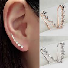 earrings that go up the ear women fashion rhinestone gold silver earrings ear hook