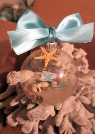 ornament favors coastal decorations glass ornaments with sand shells sea