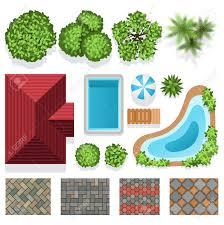 jardin paysager avec piscine éléments de vecteur de conception du paysage de jardin pour le
