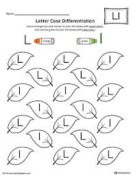 letter case recognition worksheet letter l myteachingstation com