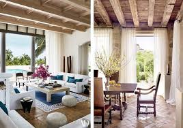 trend report mediterranean design is back in these neutral mediterranean style spaces coffered wooden ceilings sheer white curtains and