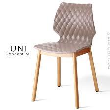 chaise 4 pieds chaise design coque effet matelassé uni piétement 4 pieds bois