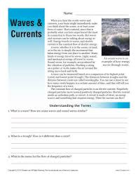 sixth grade reading comprehension worksheet waves and currents