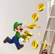 Super Mario Home Decor Luigi Collects Coins Super Mario Bros Decal Removable Wall Sticker