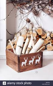 christmas decor stack of firewood ready for the fireplace divided