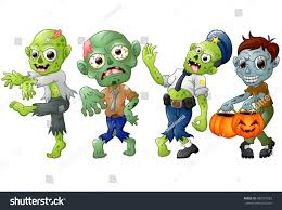 zombie cartoon halloween costumes vector illustration stock vector