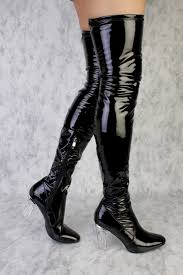 black rounded pointy toe clear chunky heel thigh high boots patent