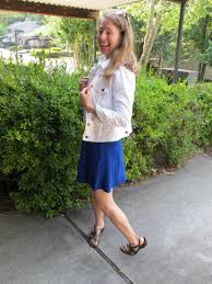 what i wore flared blue dress white denim jacket leopard