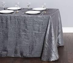 table cloth 90x132 silver charcoal crushed taffeta rectangle