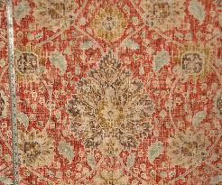 Velvet For Upholstery Vintage Persian Rug Fabric Orange Blue Chenille Velvet Upholstery