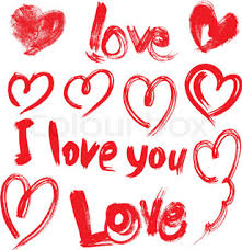 set of brush strokes and scribbles in heart shapes and words love