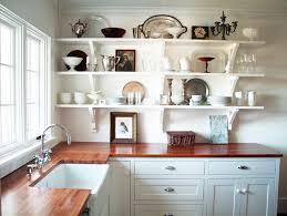 wood countertops kitchen shelves instead of cabinets lighting