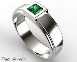 mens wedding rings unique mens princess cut green emerald wedding ring vidar