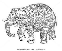 decorative outline elephant indian stock vector