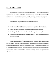 Operation Organization by Final Project Report On Organizational Communication Nonverbal