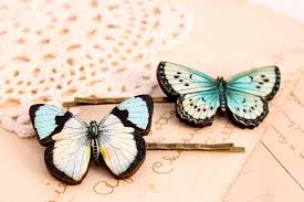 butterfly hair clip blue butterfly hair butterfly hair pin woodland wedding