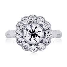engagement rings flower images Platinum 1 15ct old european cut diamond flower engagement ring jpg