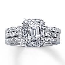 emerald cut wedding set diamond bridal set 1 1 5 ct tw emerald cut 14k white gold