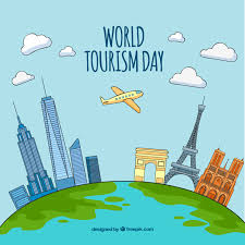 world tourism day different monuments around the world vector
