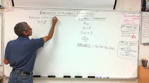 7th grade evaluation of algebraic expressions 9 28 12 youtube