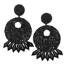 black earrings black seed bead hoop with drops clip earring