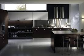 picture of modern small kitchen design brown and white color theme