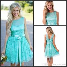aqua new short lace bridesmaid dresses 2017 country style summer