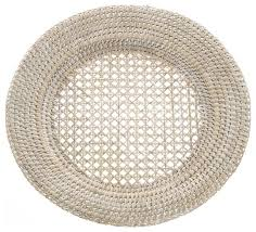 rattan charger plates set of 2 whitewashed style