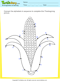 thanksgiving connect the dots by alphabets corn worksheet turtle