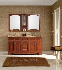 Unfinished Solid Wood Kitchen Cabinets Bathroom Cabinets Double Basin All Wood Bathroom Cabinets