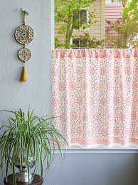 Orange And White Curtains Coral Orange White Kitchen Curtains Geometric Moroccan Trellis