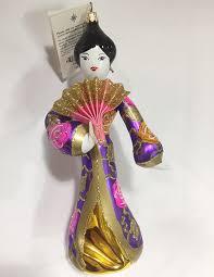 radko christmas ornaments fan dancer purple italian