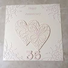 35 wedding anniversary handmade coral wedding anniversary card happy 35th wedding