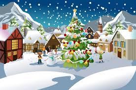 christmas scene snow scene vector illustration free vector in